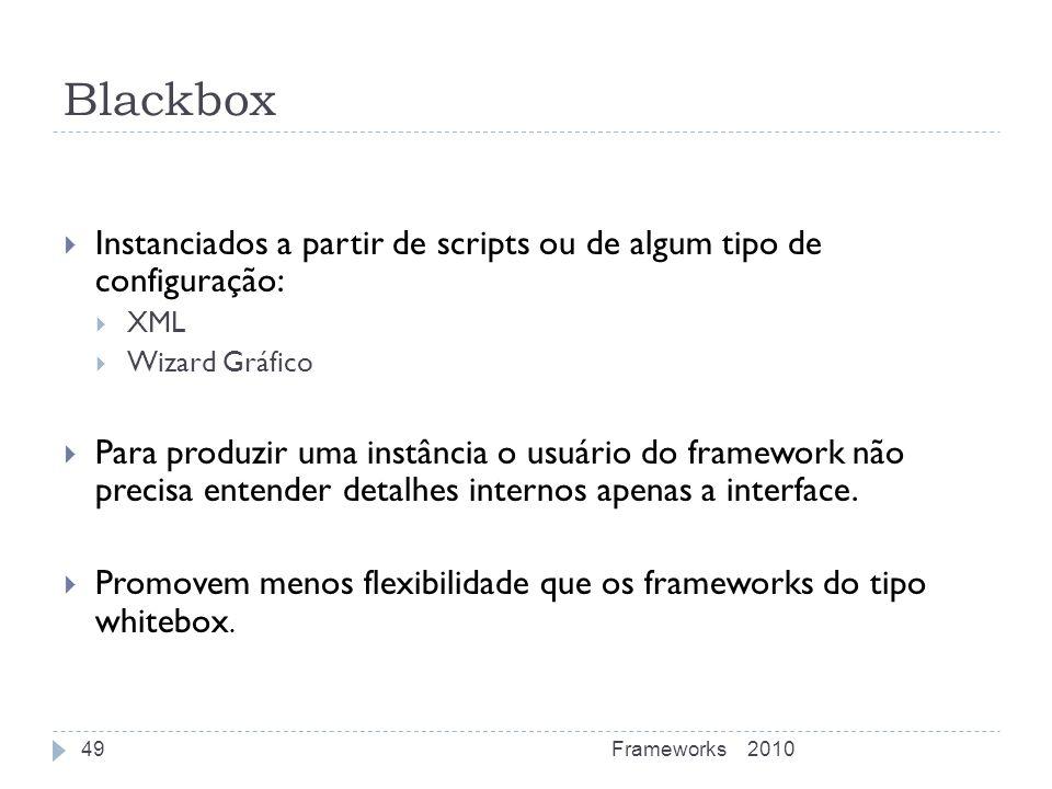 Blackbox Instanciados a partir de scripts ou de algum tipo de configuração: XML Wizard Gráfico Para produzir uma instância o usuário do framework não