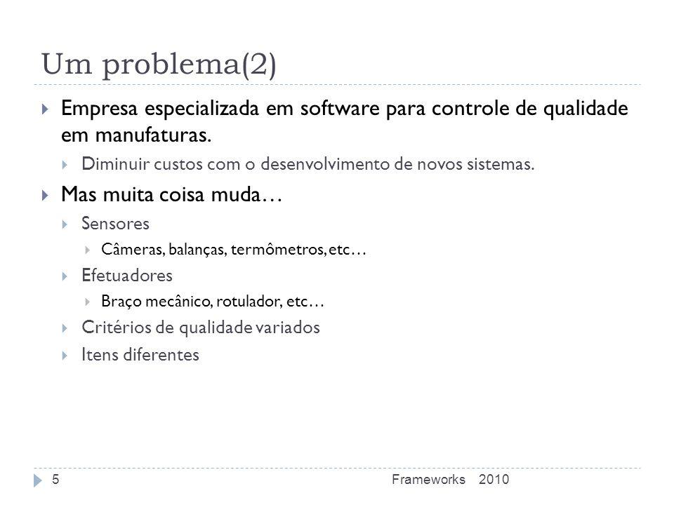 Um problema(2) Empresa especializada em software para controle de qualidade em manufaturas. Diminuir custos com o desenvolvimento de novos sistemas. M