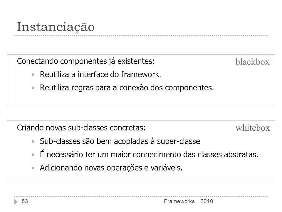 Instanciação blackbox whitebox Conectando componentes já existentes: Reutiliza a interface do framework. Reutiliza regras para a conexão dos component