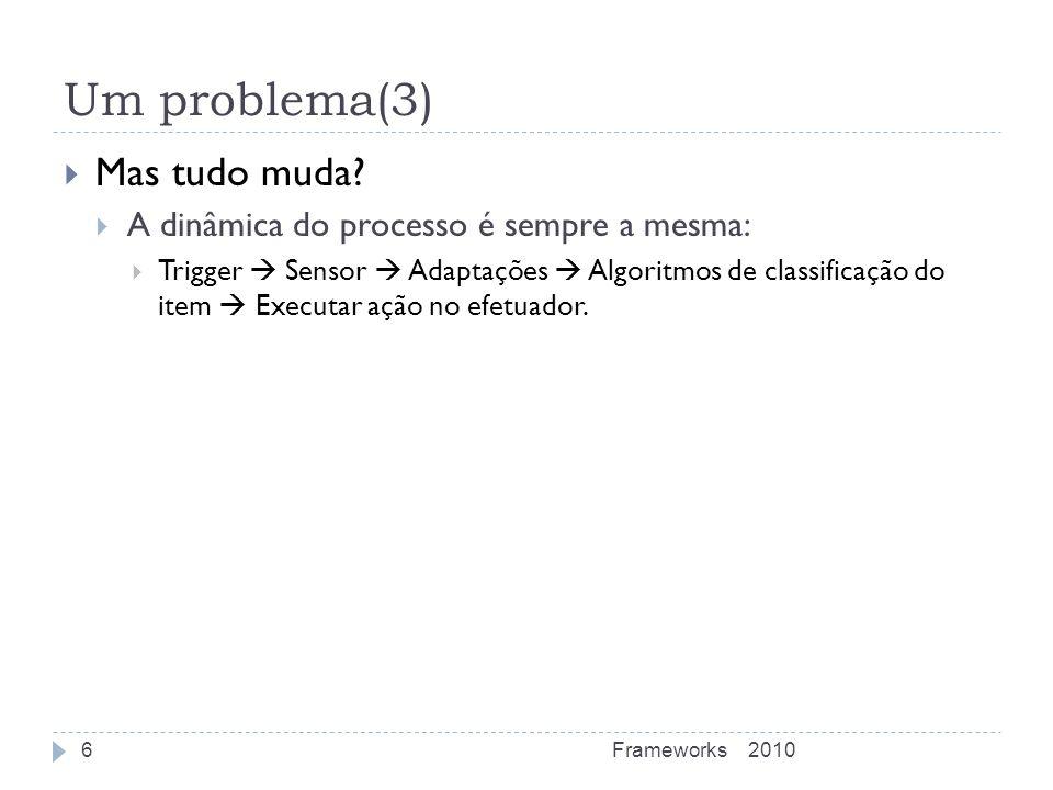 Um problema(3) Mas tudo muda? A dinâmica do processo é sempre a mesma: Trigger Sensor Adaptações Algoritmos de classificação do item Executar ação no