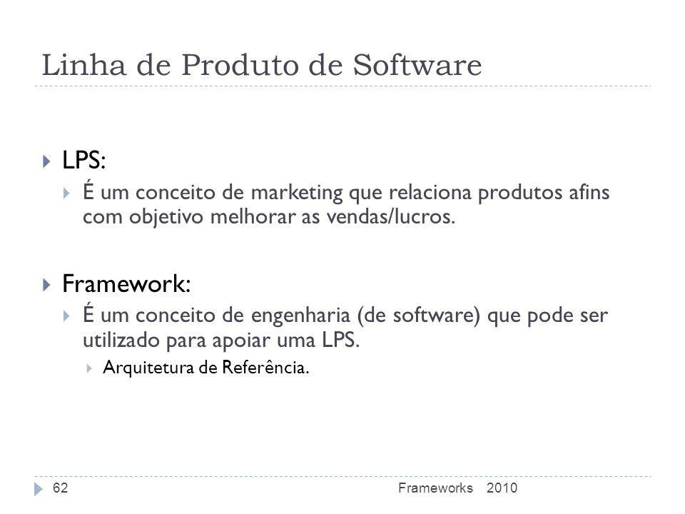 Linha de Produto de Software LPS: É um conceito de marketing que relaciona produtos afins com objetivo melhorar as vendas/lucros. Framework: É um conc