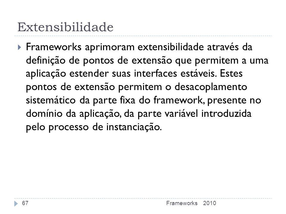 Extensibilidade Frameworks aprimoram extensibilidade através da definição de pontos de extensão que permitem a uma aplicação estender suas interfaces