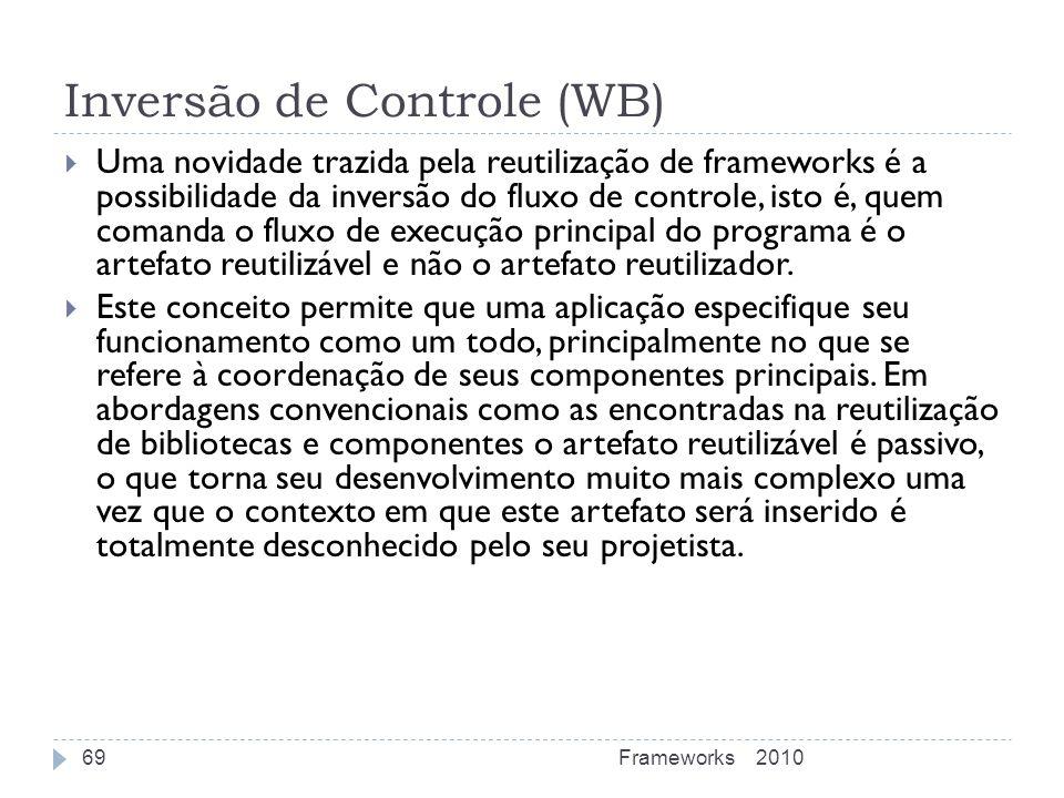 Inversão de Controle (WB) Uma novidade trazida pela reutilização de frameworks é a possibilidade da inversão do fluxo de controle, isto é, quem comand