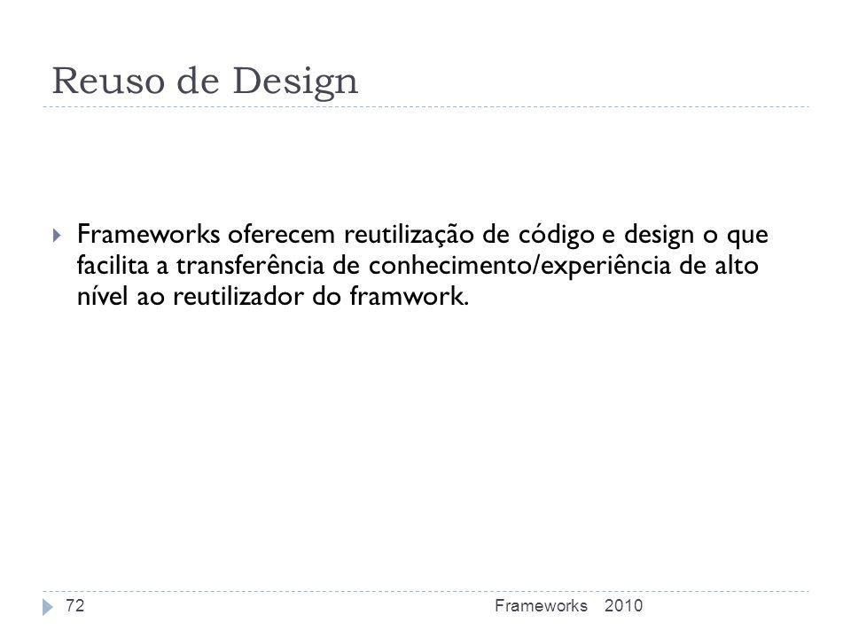 Reuso de Design Frameworks oferecem reutilização de código e design o que facilita a transferência de conhecimento/experiência de alto nível ao reutil
