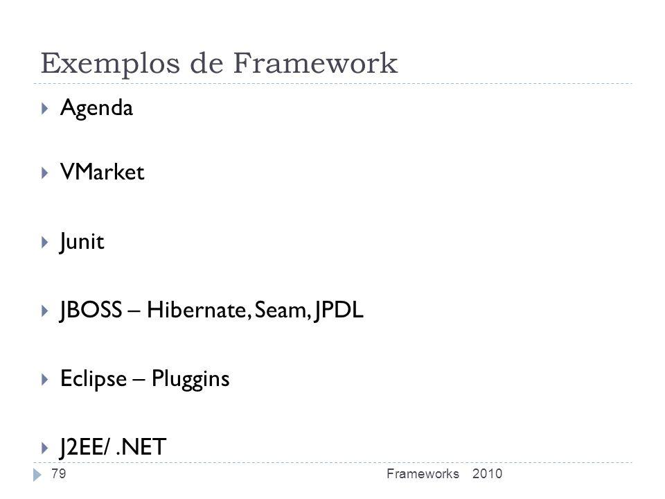 Exemplos de Framework Agenda VMarket Junit JBOSS – Hibernate, Seam, JPDL Eclipse – Pluggins J2EE/.NET 2010Frameworks79