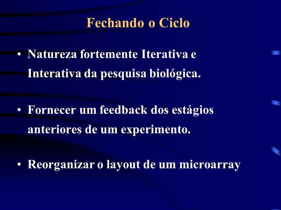 Fechando o Ciclo Natureza fortemente Iterativa e Interativa da pesquisa biológica. Fornecer um feedback dos estágios anteriores de um experimento. Reo