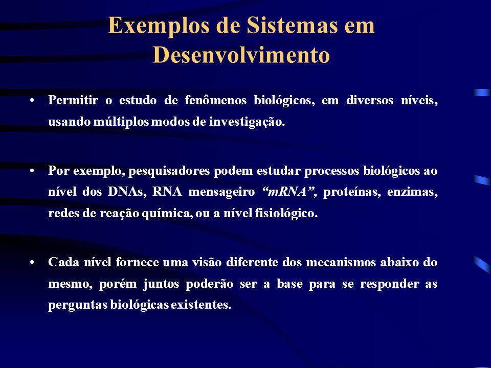 Exemplos de Sistemas em Desenvolvimento Permitir o estudo de fenômenos biológicos, em diversos níveis, usando múltiplos modos de investigação. Por exe