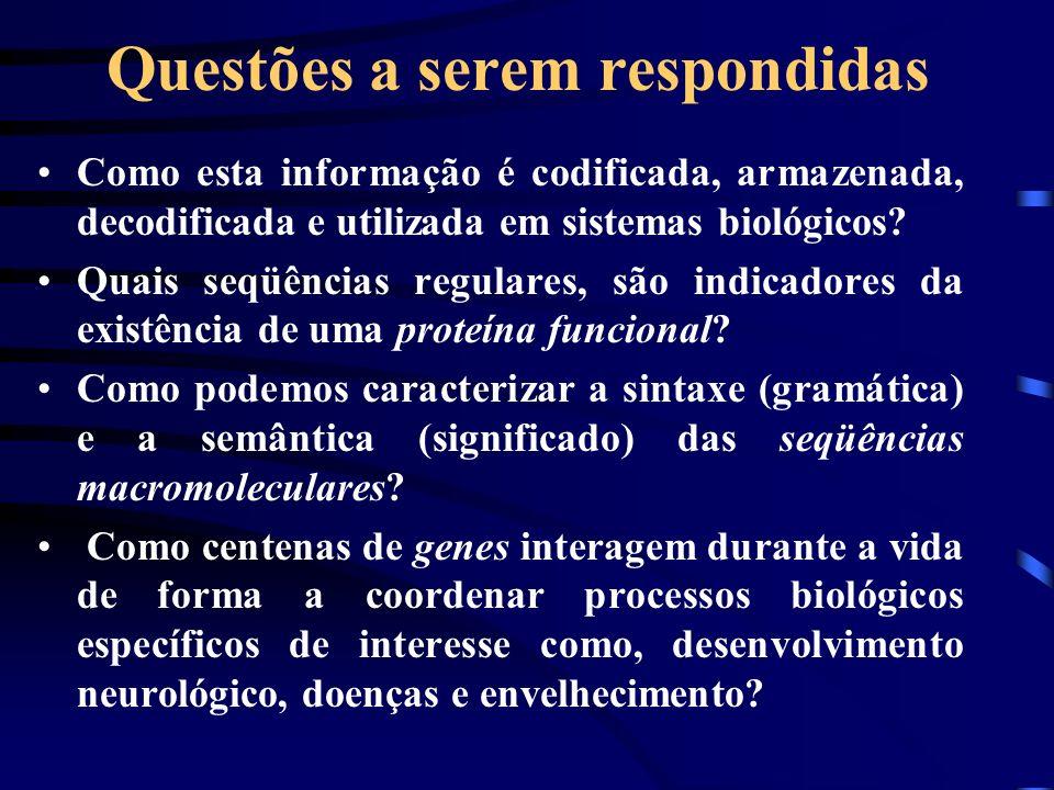 Questões a serem respondidas Como esta informação é codificada, armazenada, decodificada e utilizada em sistemas biológicos? Quais seqüências regulare