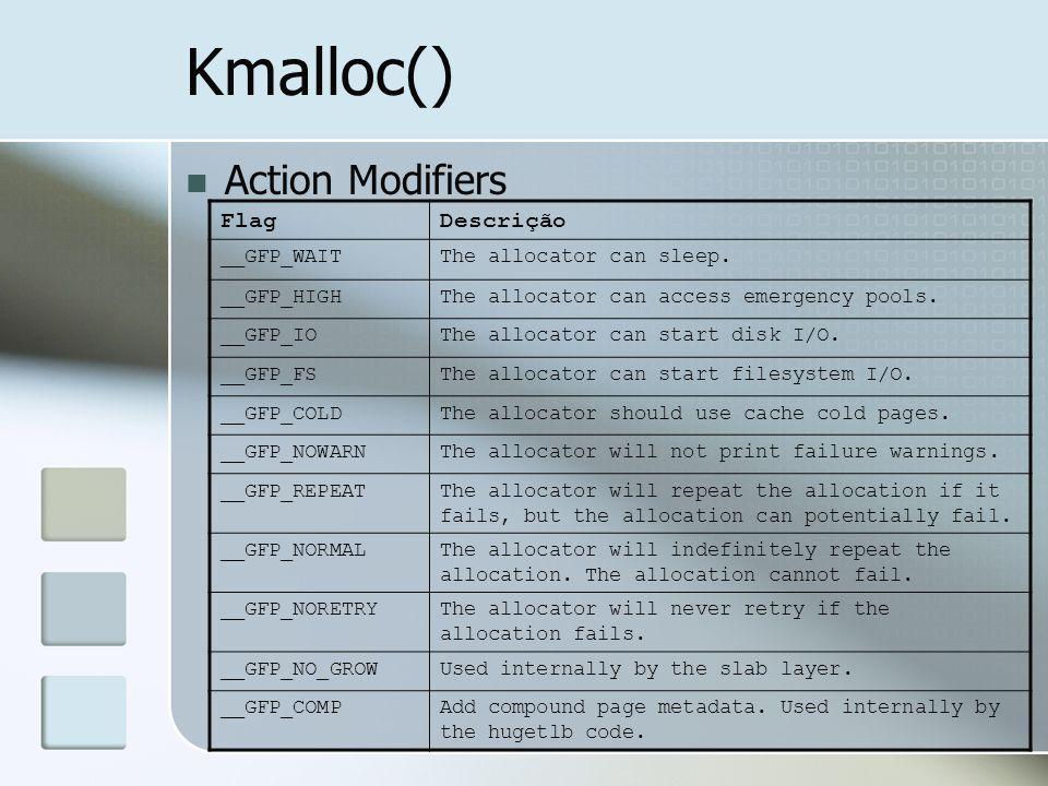 Kmalloc() Action Modifiers FlagDescrição __GFP_WAITThe allocator can sleep. __GFP_HIGHThe allocator can access emergency pools. __GFP_IOThe allocator