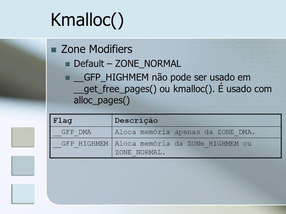 Kmalloc() Zone Modifiers Default – ZONE_NORMAL __GFP_HIGHMEM não pode ser usado em __get_free_pages() ou kmalloc(). É usado com alloc_pages() FlagDesc