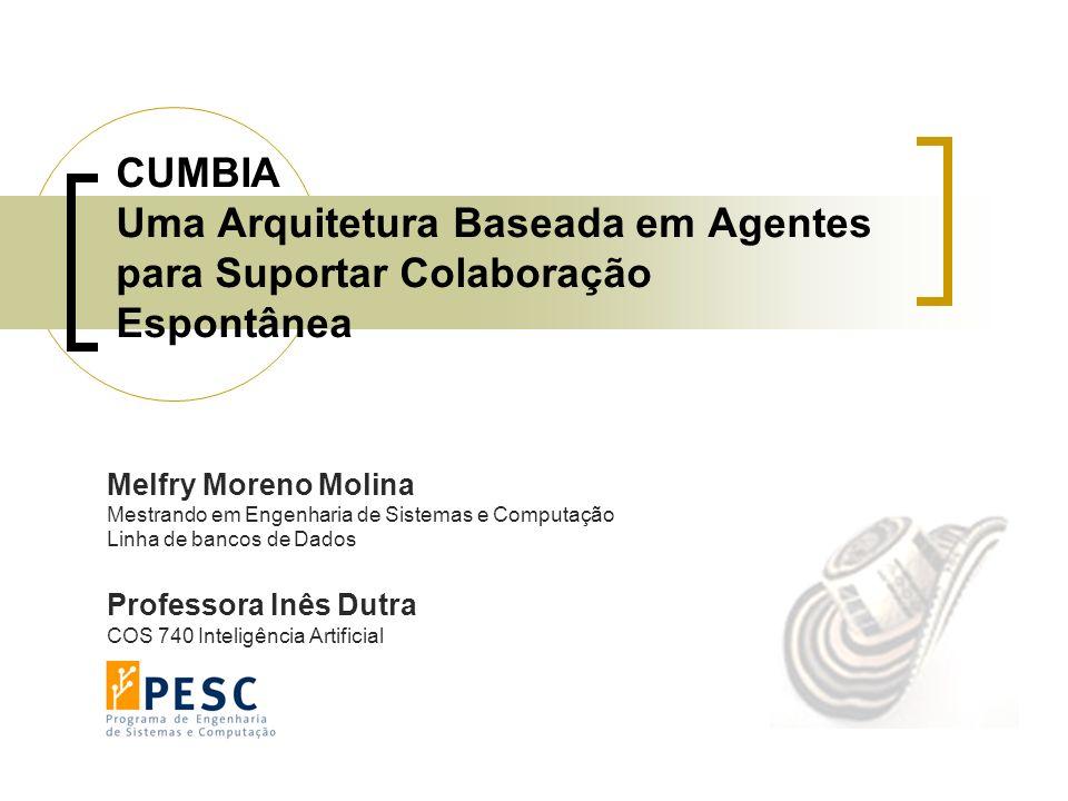 CUMBIA Uma Arquitetura Baseada em Agentes para Suportar Colaboração Espontânea Melfry Moreno Molina Mestrando em Engenharia de Sistemas e Computação L