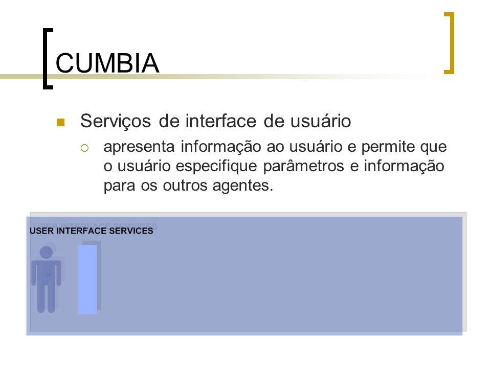 CUMBIA Serviços de interface de usuário apresenta informação ao usuário e permite que o usuário especifique parâmetros e informação para os outros age