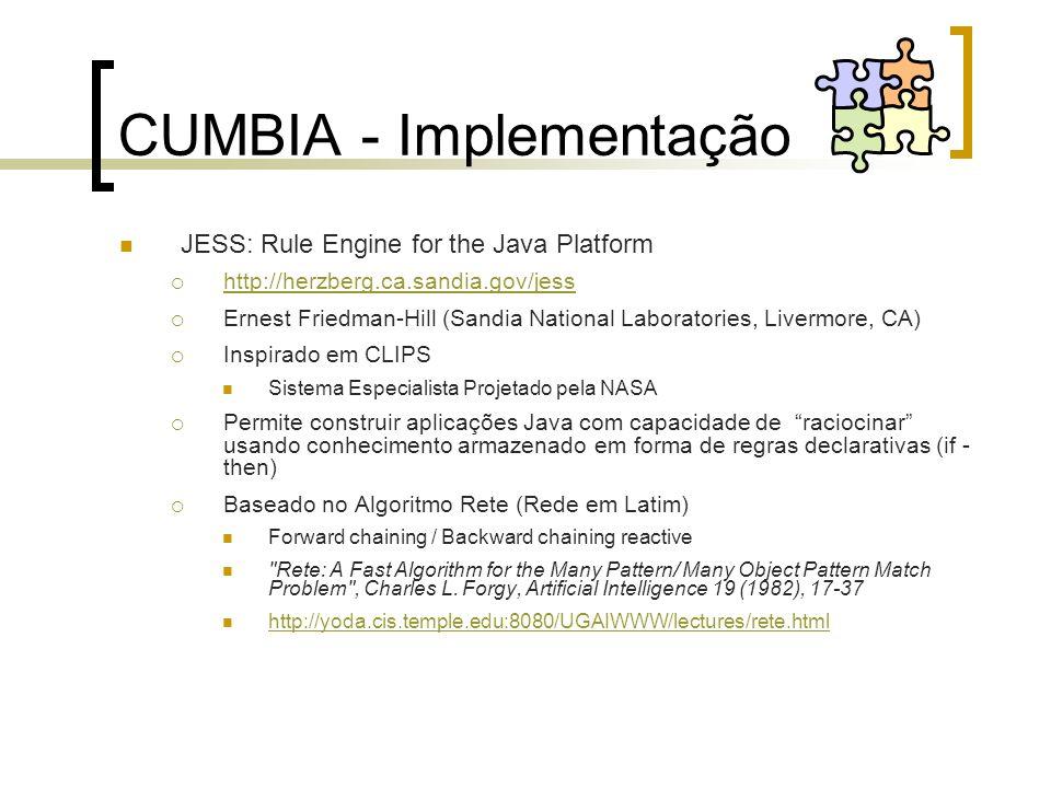 CUMBIA - Implementação JESS: Rule Engine for the Java Platform http://herzberg.ca.sandia.gov/jess Ernest Friedman-Hill (Sandia National Laboratories,
