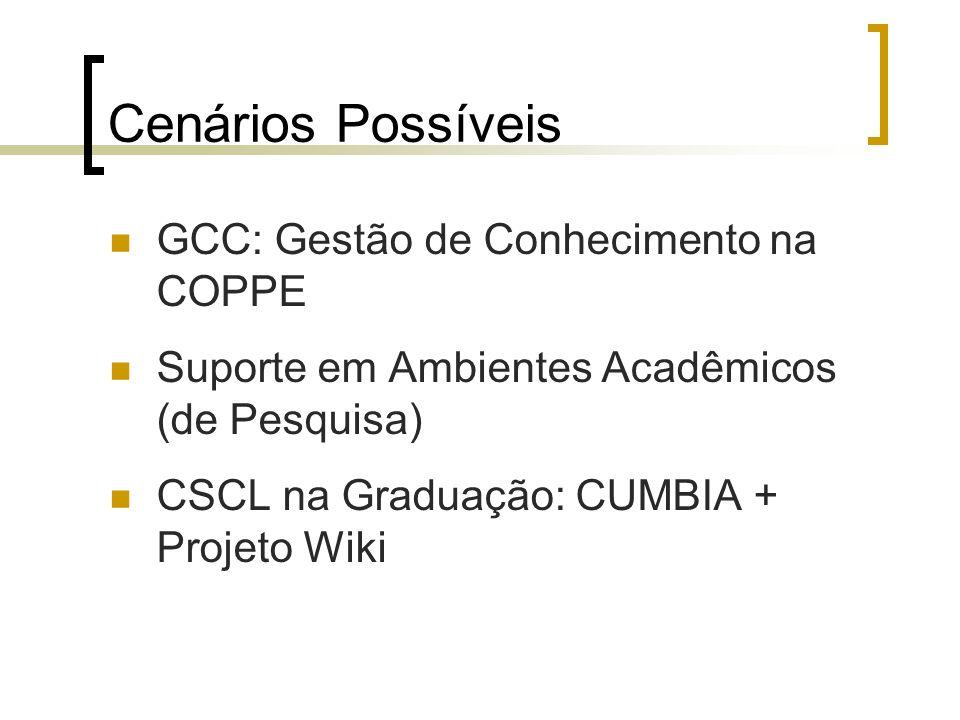 Cenários Possíveis GCC: Gestão de Conhecimento na COPPE Suporte em Ambientes Acadêmicos (de Pesquisa) CSCL na Graduação: CUMBIA + Projeto Wiki