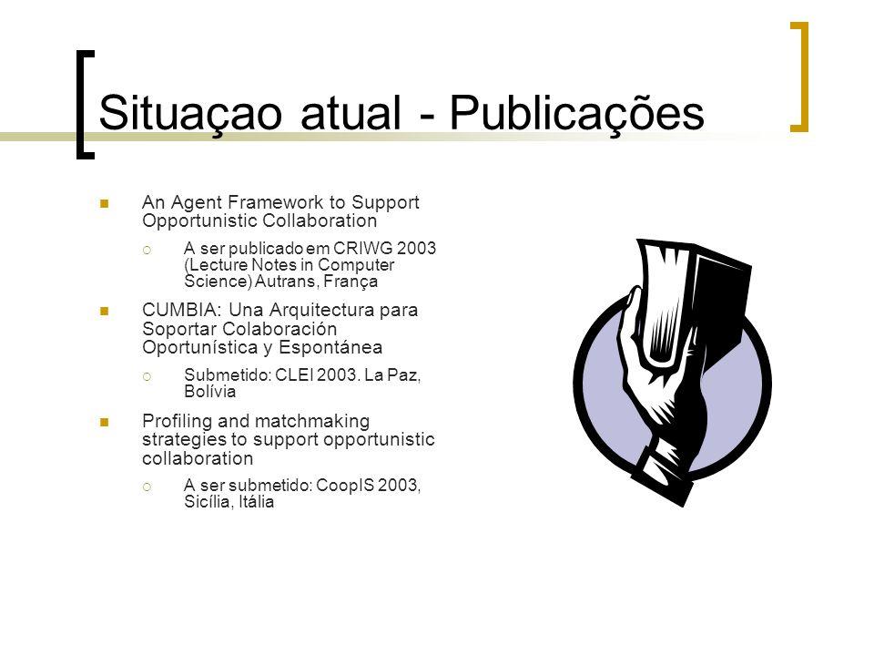 Situaçao atual - Publicações An Agent Framework to Support Opportunistic Collaboration A ser publicado em CRIWG 2003 (Lecture Notes in Computer Scienc