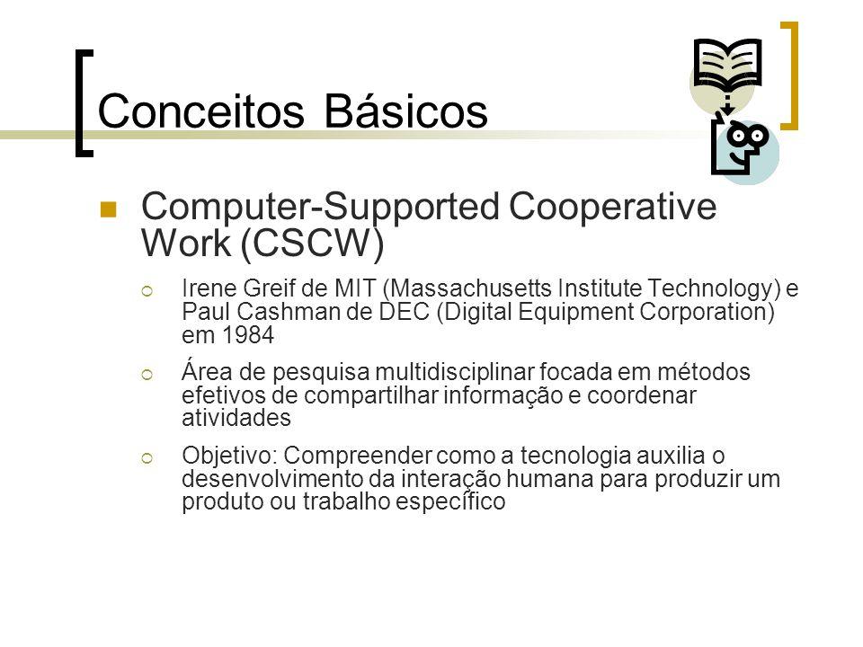 Conceitos Básicos Computer-Supported Cooperative Work (CSCW) Irene Greif de MIT (Massachusetts Institute Technology) e Paul Cashman de DEC (Digital Eq