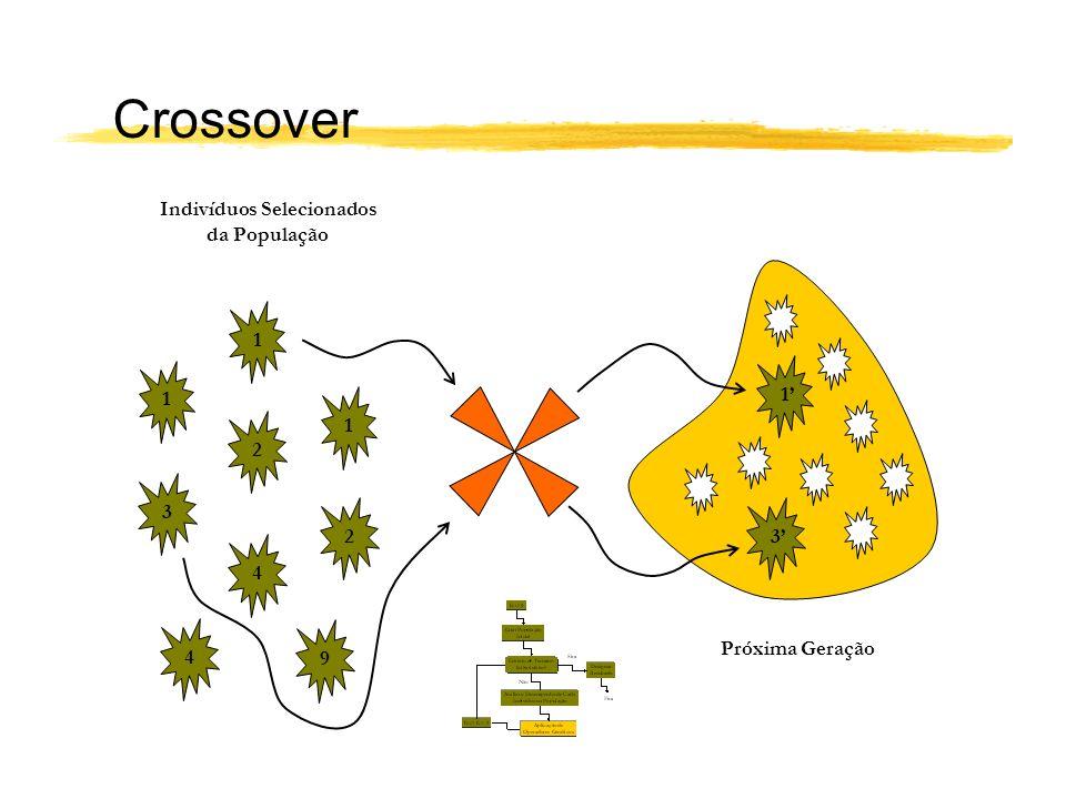 Indivíduos Selecionados da População 2 2 3 4 9 4 1 1 1 3 Próxima Geração 1 Crossover