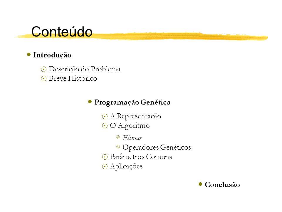 Conteúdo Introdução Descrição do Problema Breve Histórico Programação Genética A Representação O Algoritmo Fitness Operadores Genéticos Parâmetros Com
