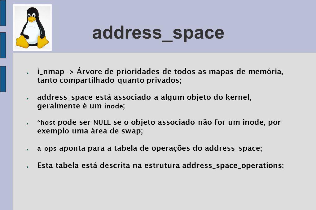 address_space i_nmap -> Árvore de prioridades de todos as mapas de memória, tanto compartilhado quanto privados; address_space está associado a algum