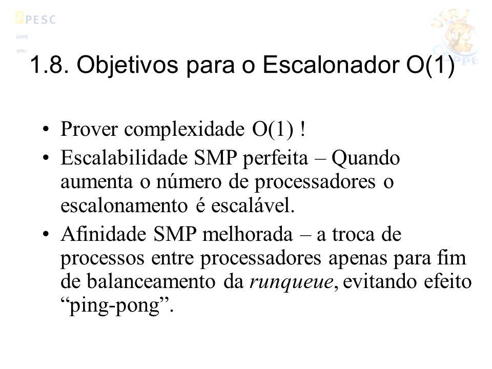 1.8. Objetivos para o Escalonador O(1) Prover complexidade O(1) ! Escalabilidade SMP perfeita – Quando aumenta o número de processadores o escalonamen