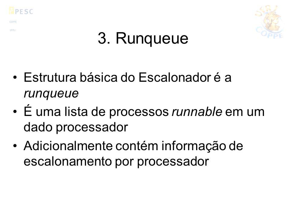 3. Runqueue Estrutura básica do Escalonador é a runqueue É uma lista de processos runnable em um dado processador Adicionalmente contém informação de