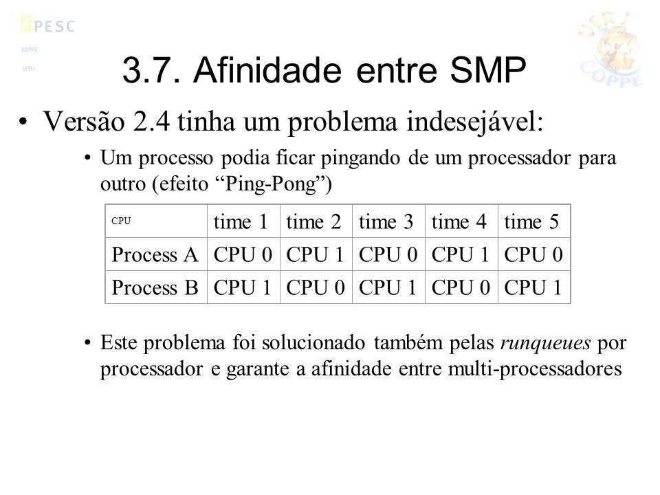 3.7. Afinidade entre SMP Versão 2.4 tinha um problema indesejável: Um processo podia ficar pingando de um processador para outro (efeito Ping-Pong) Es