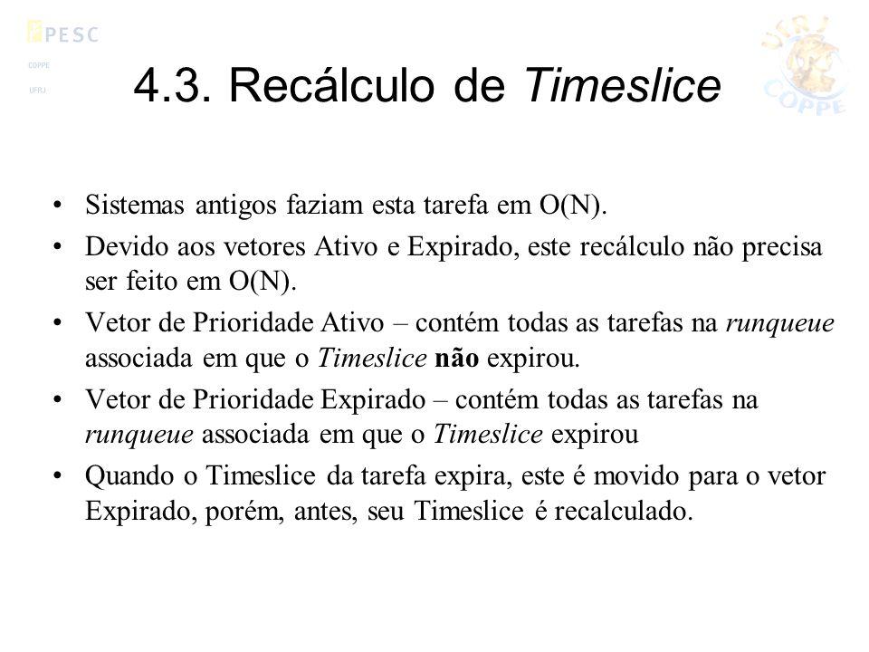 4.3. Recálculo de Timeslice Sistemas antigos faziam esta tarefa em O(N). Devido aos vetores Ativo e Expirado, este recálculo não precisa ser feito em