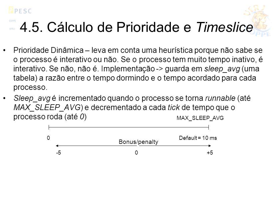 4.5. Cálculo de Prioridade e Timeslice Prioridade Dinâmica – leva em conta uma heurística porque não sabe se o processo é interativo ou não. Se o proc