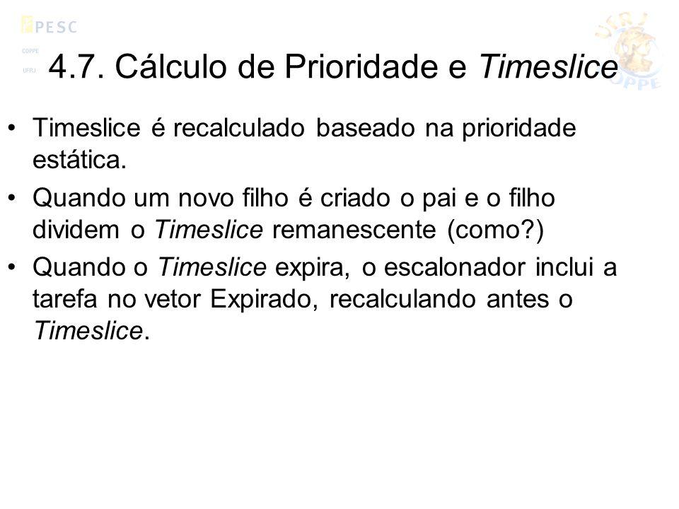 4.7. Cálculo de Prioridade e Timeslice Timeslice é recalculado baseado na prioridade estática. Quando um novo filho é criado o pai e o filho dividem o