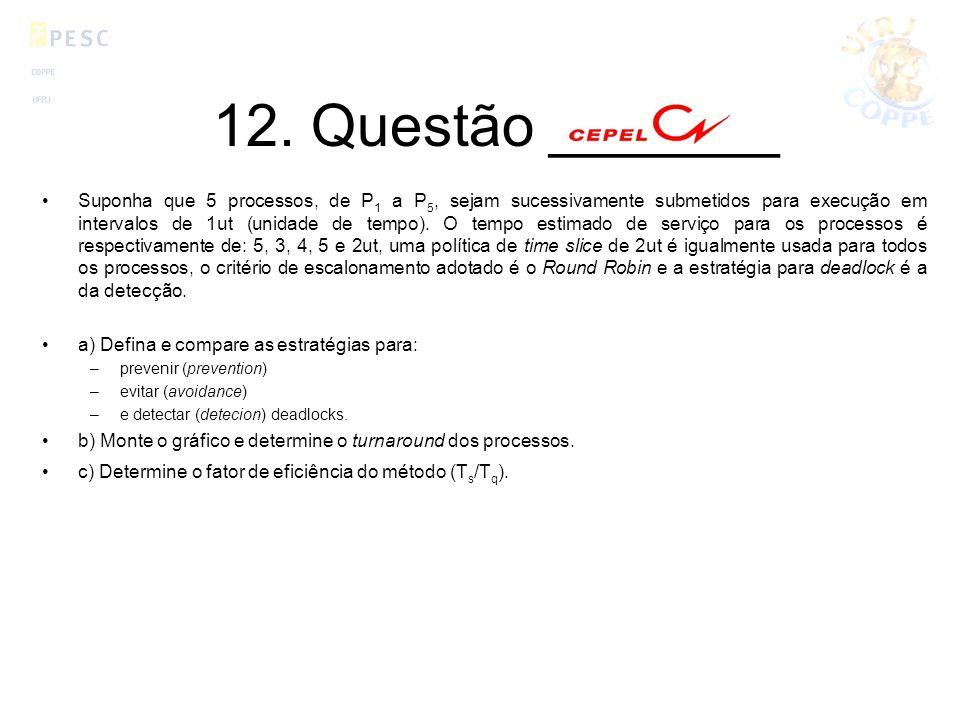 12. Questão _______ Suponha que 5 processos, de P 1 a P 5, sejam sucessivamente submetidos para execução em intervalos de 1ut (unidade de tempo). O te