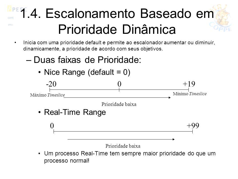 1.4. Escalonamento Baseado em Prioridade Dinâmica Inicia com uma prioridade default e permite ao escalonador aumentar ou diminuir, dinamicamente, a pr