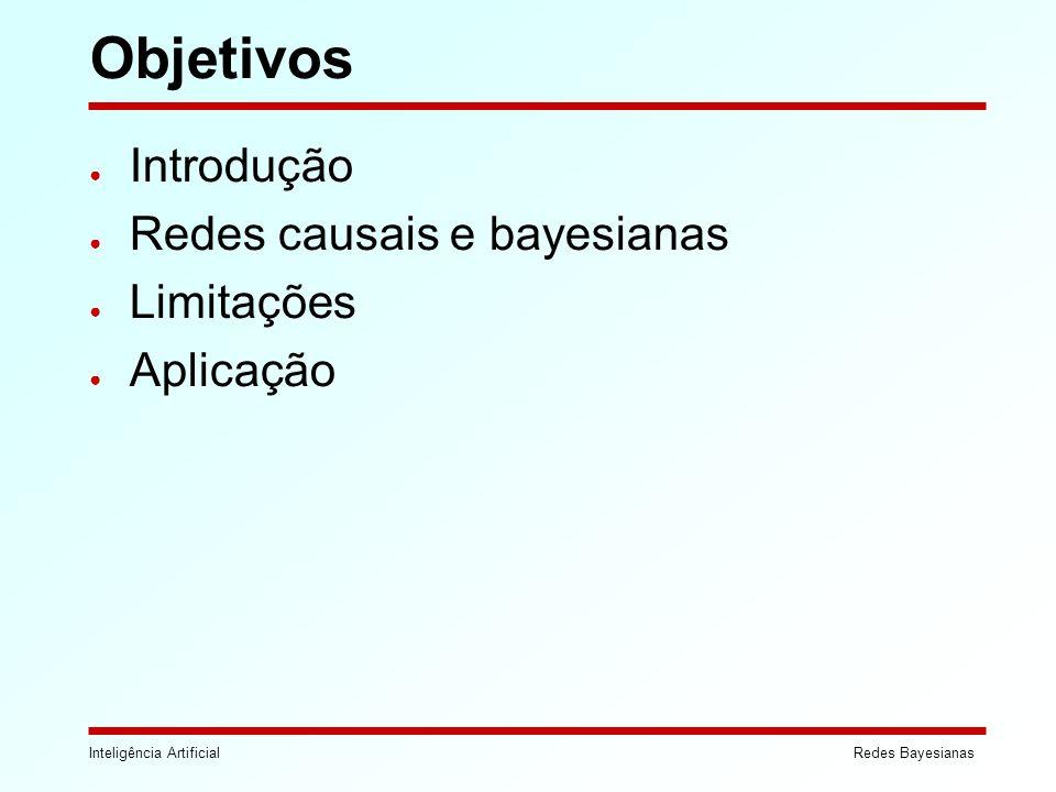 Inteligência ArtificialRedes Bayesianas Objetivos Introdução Redes causais e bayesianas Limitações Aplicação