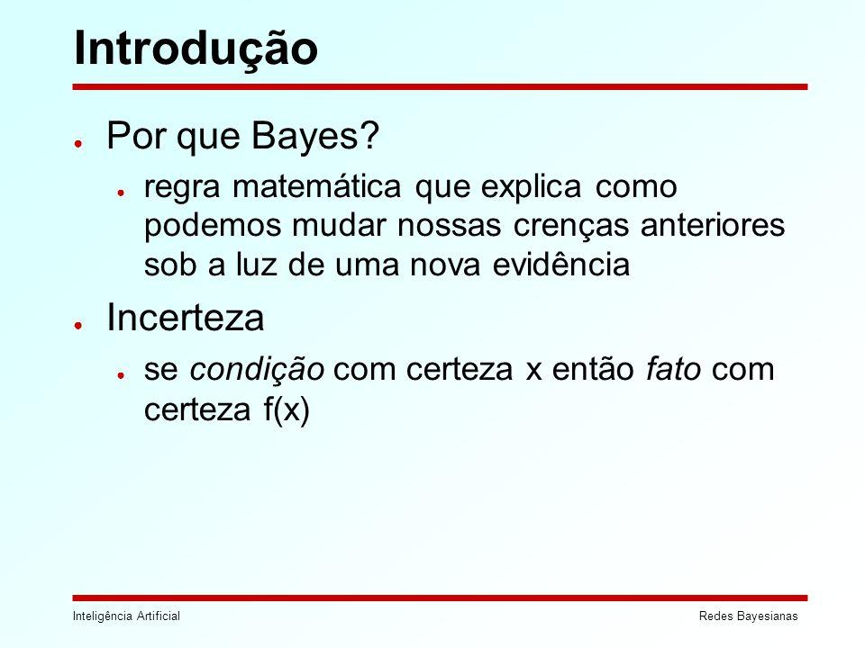 Inteligência ArtificialRedes Bayesianas Introdução Por que Bayes? regra matemática que explica como podemos mudar nossas crenças anteriores sob a luz