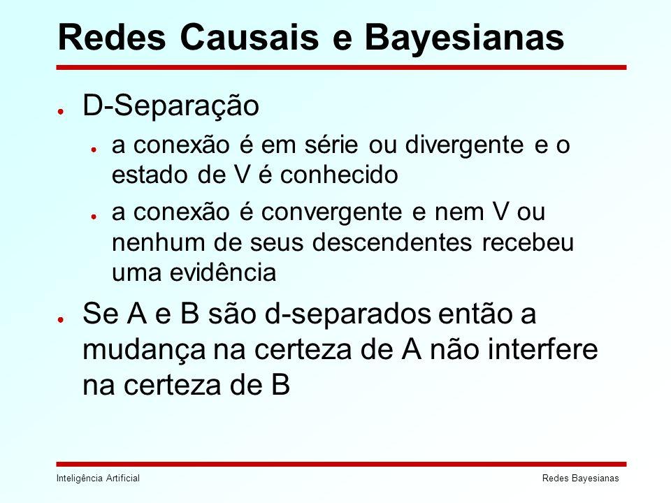 Inteligência ArtificialRedes Bayesianas Redes Causais e Bayesianas D-Separação a conexão é em série ou divergente e o estado de V é conhecido a conexã