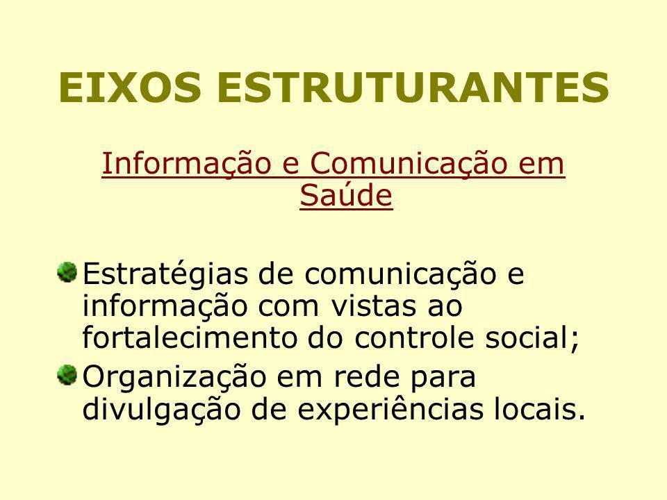 EIXOS ESTRUTURANTES Informação e Comunicação em Saúde Estratégias de comunicação e informação com vistas ao fortalecimento do controle social; Organiz