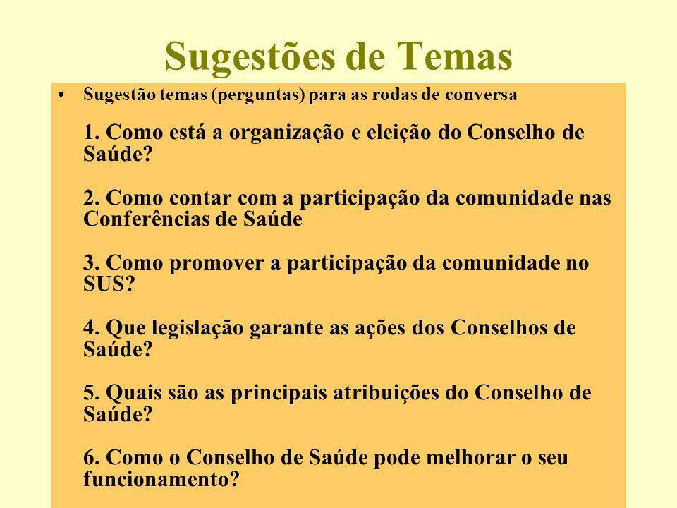 Sugestões de Temas Sugestão temas (perguntas) para as rodas de conversa 1. Como está a organização e eleição do Conselho de Saúde? 2. Como contar com
