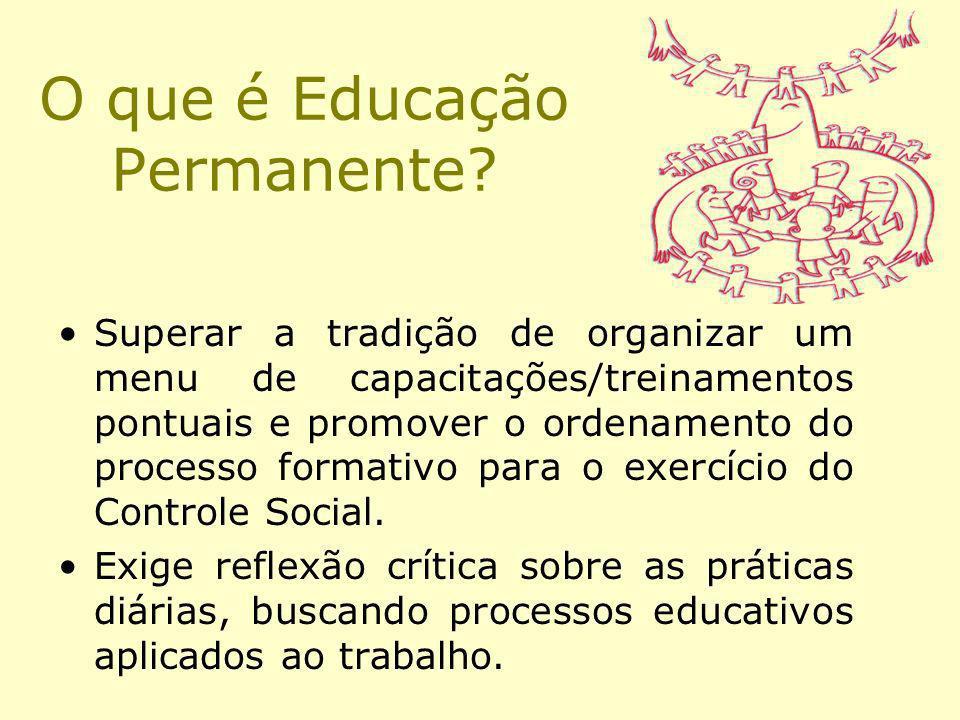 O que é Educação Permanente? Superar a tradição de organizar um menu de capacitações/treinamentos pontuais e promover o ordenamento do processo format