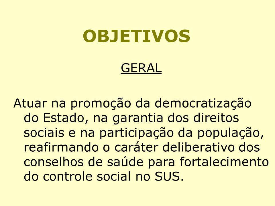 OBJETIVOS GERAL Atuar na promoção da democratização do Estado, na garantia dos direitos sociais e na participação da população, reafirmando o caráter