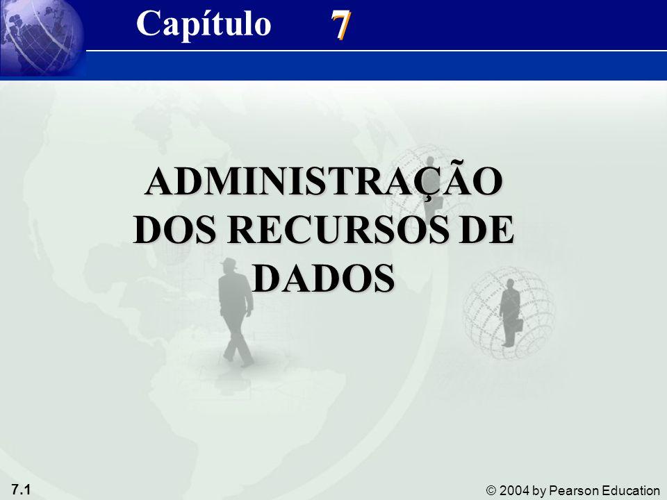 7.1 © 2004 by Pearson Education 7 7 ADMINISTRAÇÃO DOS RECURSOS DE DADOS Capítulo