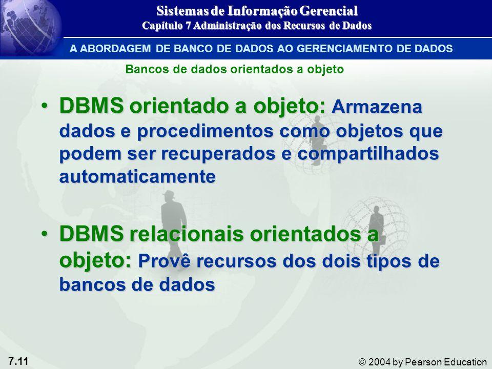 7.11 © 2004 by Pearson Education DBMS orientado a objeto: Armazena dados e procedimentos como objetos que podem ser recuperados e compartilhados automaticamenteDBMS orientado a objeto: Armazena dados e procedimentos como objetos que podem ser recuperados e compartilhados automaticamente DBMS relacionais orientados a objeto: Provê recursos dos dois tipos de bancos de dadosDBMS relacionais orientados a objeto: Provê recursos dos dois tipos de bancos de dados Bancos de dados orientados a objeto Sistemas de Informação Gerencial Capítulo 7 Administração dos Recursos de Dados A ABORDAGEM DE BANCO DE DADOS AO GERENCIAMENTO DE DADOS