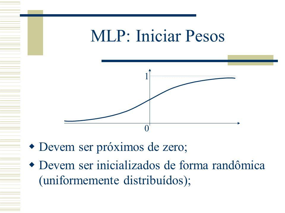 MLP: Iniciar Pesos 0 1 Devem ser próximos de zero; Devem ser inicializados de forma randômica (uniformemente distribuídos);