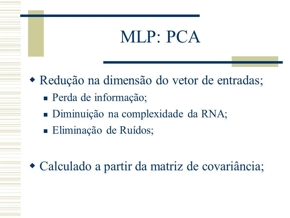 MLP: PCA Redução na dimensão do vetor de entradas; Perda de informação; Diminuição na complexidade da RNA; Eliminação de Ruídos; Calculado a partir da