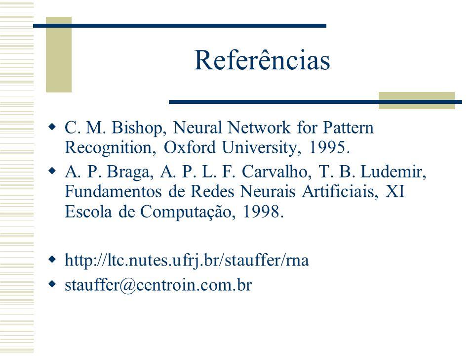 Referências C. M. Bishop, Neural Network for Pattern Recognition, Oxford University, 1995. A. P. Braga, A. P. L. F. Carvalho, T. B. Ludemir, Fundament