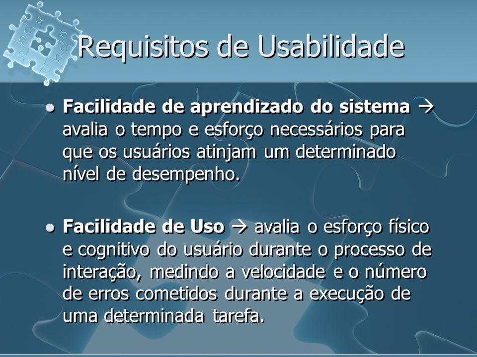 Requisitos de Usabilidade Facilidade de aprendizado do sistema avalia o tempo e esforço necessários para que os usuários atinjam um determinado nível