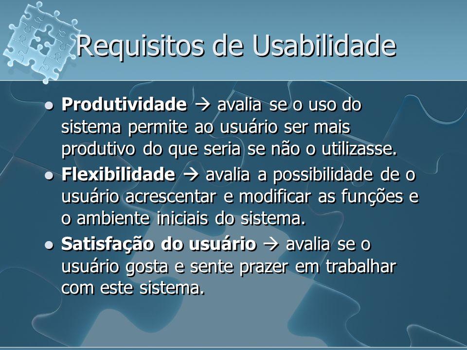 Requisitos de Usabilidade Produtividade avalia se o uso do sistema permite ao usuário ser mais produtivo do que seria se não o utilizasse. Flexibilida