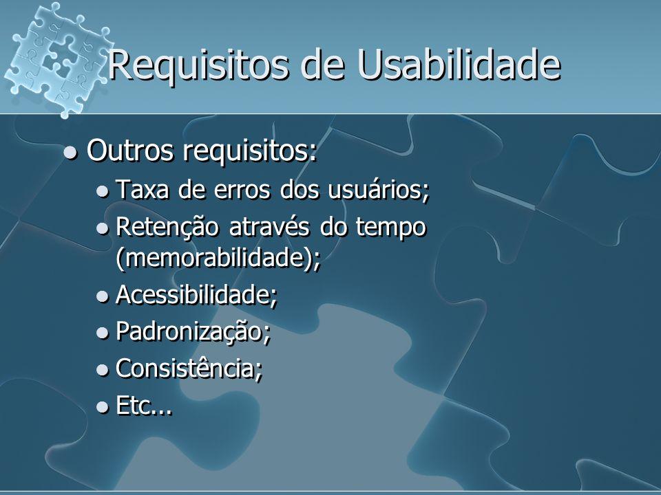 Requisitos de Usabilidade Outros requisitos: Taxa de erros dos usuários; Retenção através do tempo (memorabilidade); Acessibilidade; Padronização; Con
