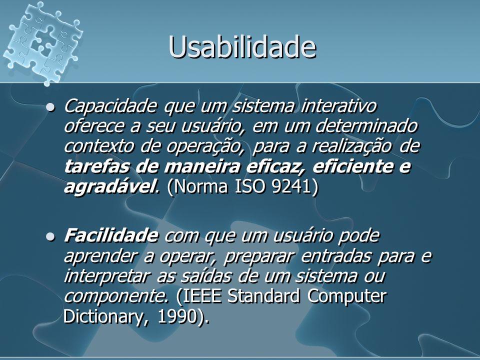 Usabilidade Capacidade que um sistema interativo oferece a seu usuário, em um determinado contexto de operação, para a realização de tarefas de maneir