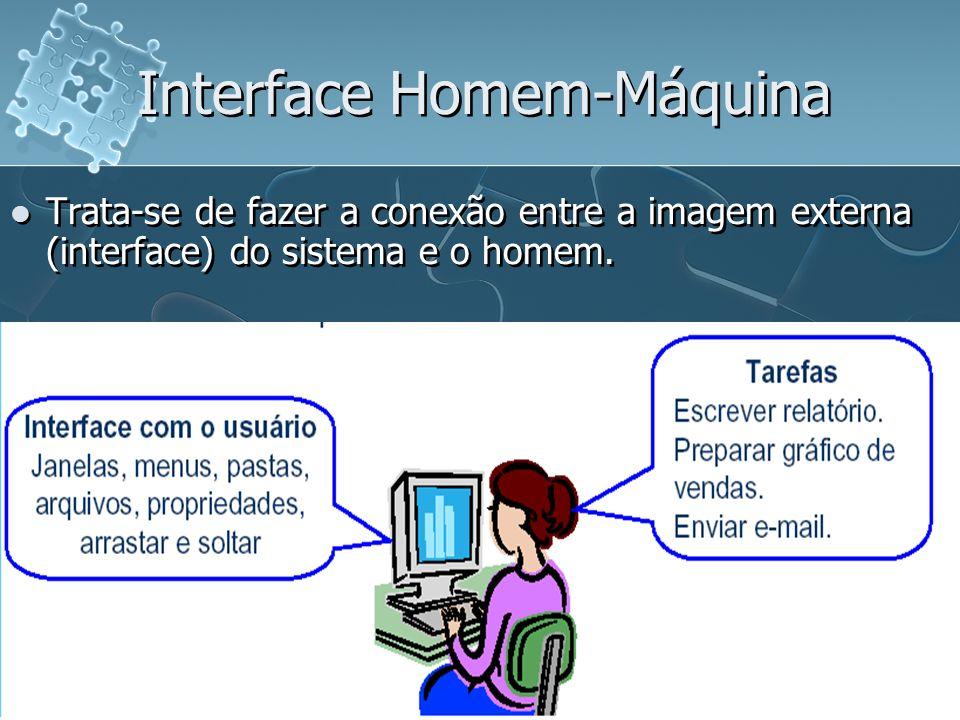 Interface Homem-Máquina Trata-se de fazer a conexão entre a imagem externa (interface) do sistema e o homem. Interface com o usuário (IU): porção de u