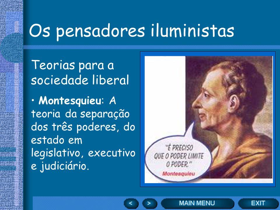Os pensadores iluministas Teorias para a sociedade liberal Montesquieu: A teoria da separação dos três poderes, do estado em legislativo, executivo e