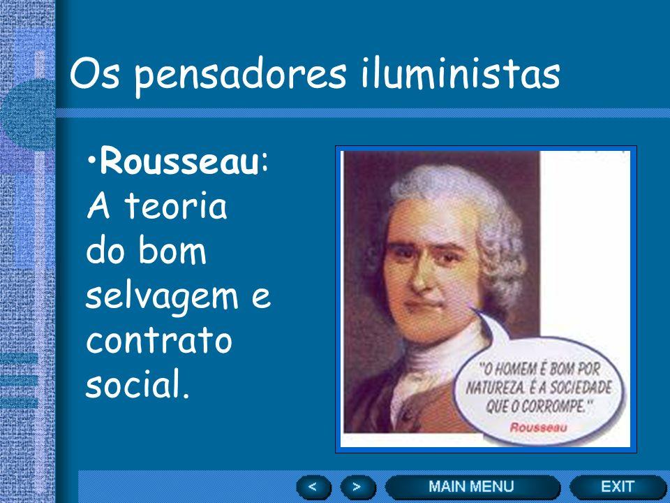 Os pensadores iluministas Rousseau: A teoria do bom selvagem e contrato social.